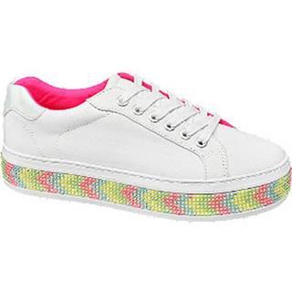 Biele plátenné tenisky na platforme Graceland