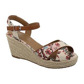 Béžové sandále na klinovom podpätku s kvetinovým vzorom Tom Tailor
