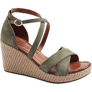 Zelené kožené sandále na klinovom podpätku 5th Avenue