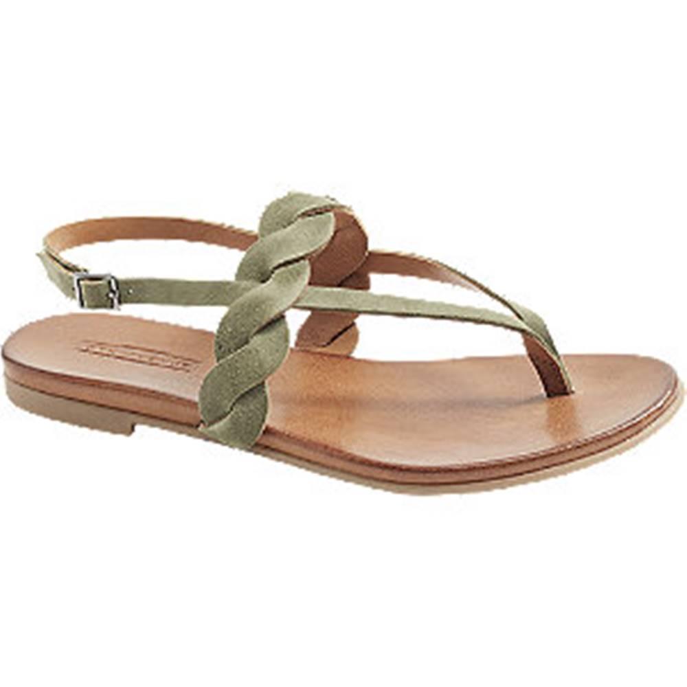 5th Avenue Zelené kožené sandále 5th Avenue