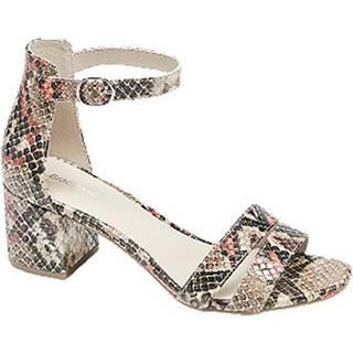 Béžové sandále na podpätku Graceland so zvieracím vzorom