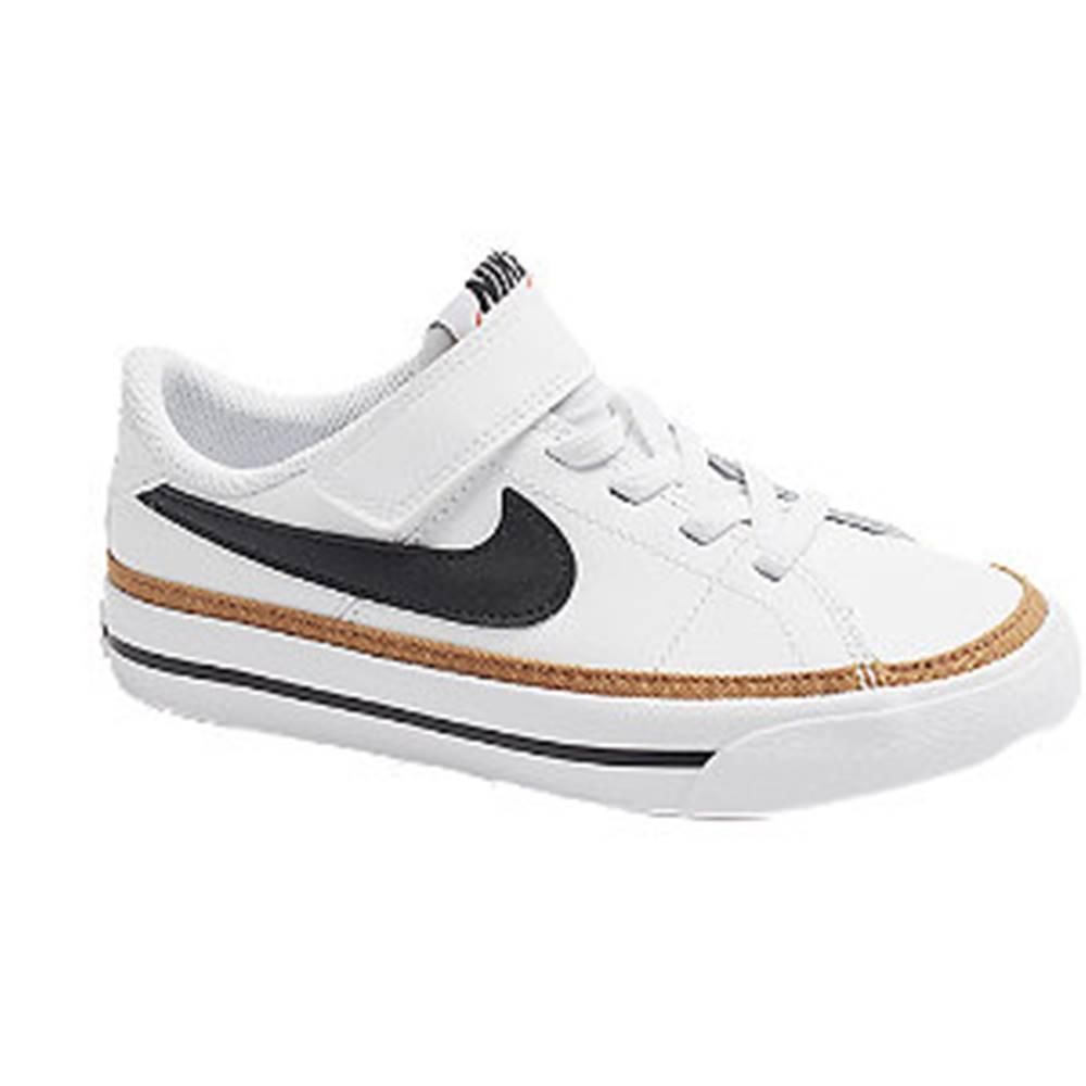 Nike Biele kožené tenisky na suchý zips Nike Court Legacy