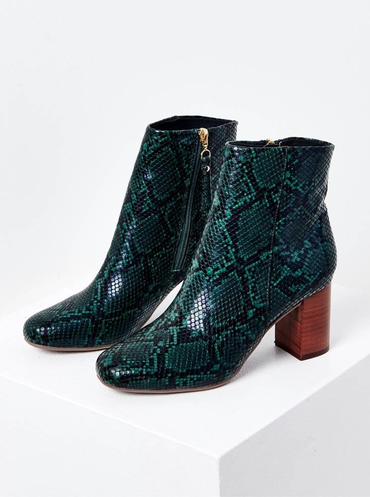 CAMAIEU Tmavozelené členkové topánky s hadím vzorom CAMAIEU