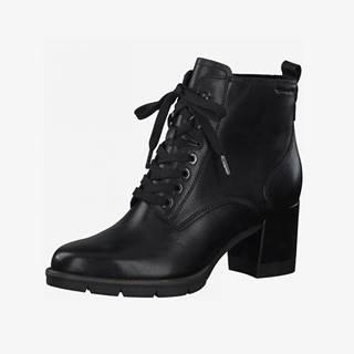 Čierne kožené členkové topánky na podpätku