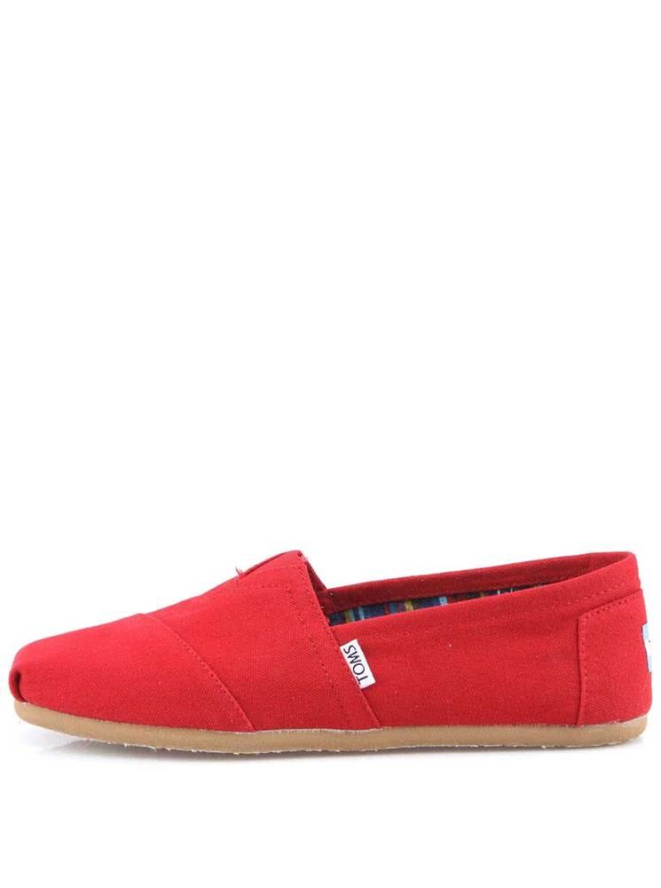 TOMS Červené dámske loafers  Canvas Classic