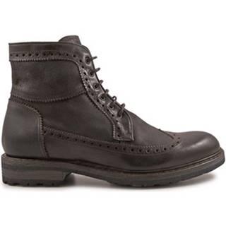 Polokozačky Leonardo Shoes  4682 OXFORD DELAVE CIOCCOLATO I