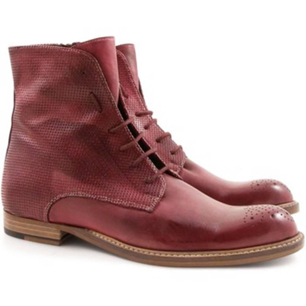 Leonardo Shoes Polokozačky Leonardo Shoes  2514/1 PAPUA MICROF.ROUGE