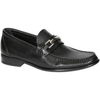 Mokasíny Leonardo Shoes  06944 12991 FORMA SCA CERVO NERO