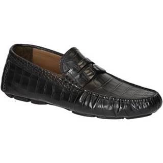 Mokasíny Leonardo Shoes  06085 11002 FORMA SCA COCCO NERO