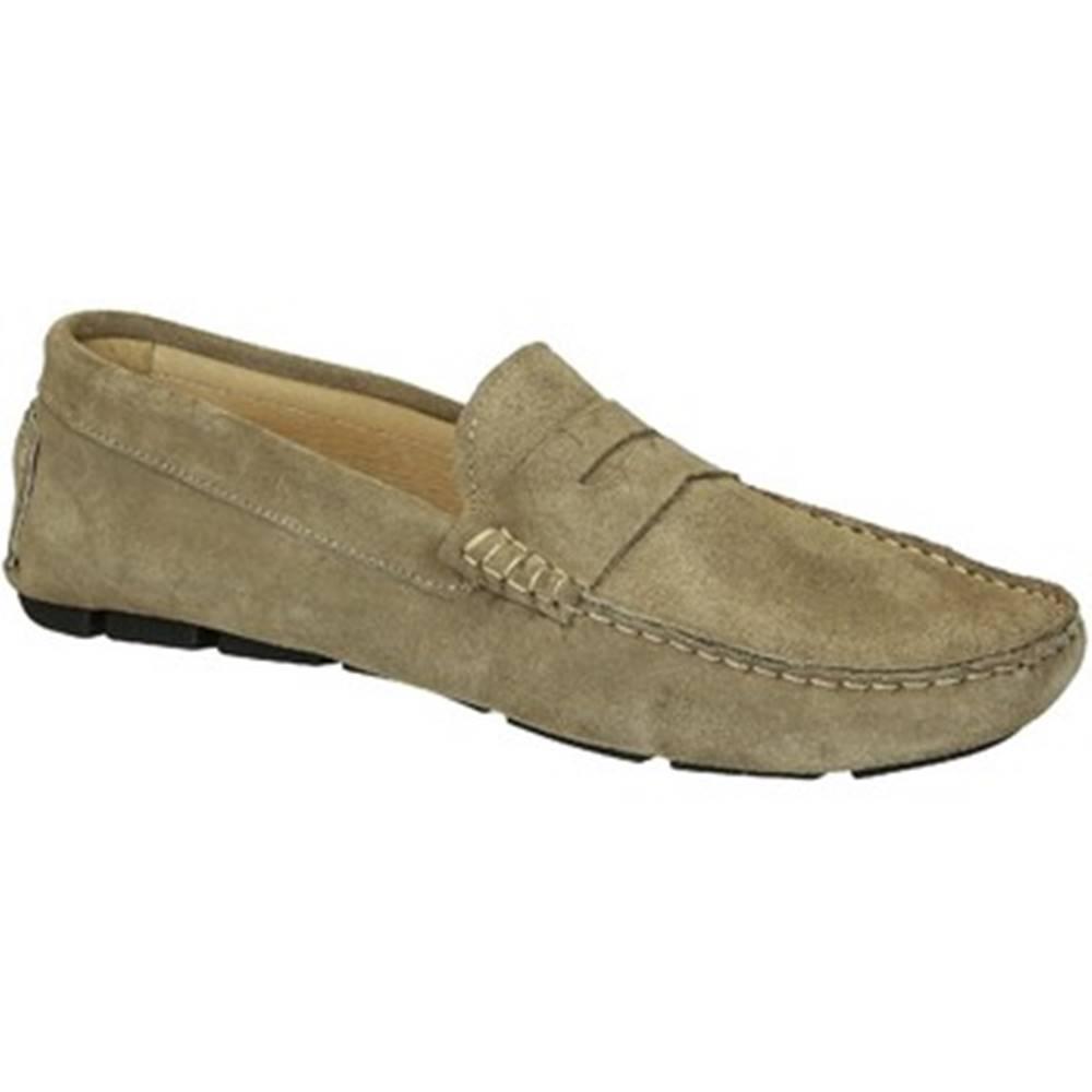 Leonardo Shoes Mokasíny Leonardo Shoes  503 CAMOSCIO TAUPE TASSELLI