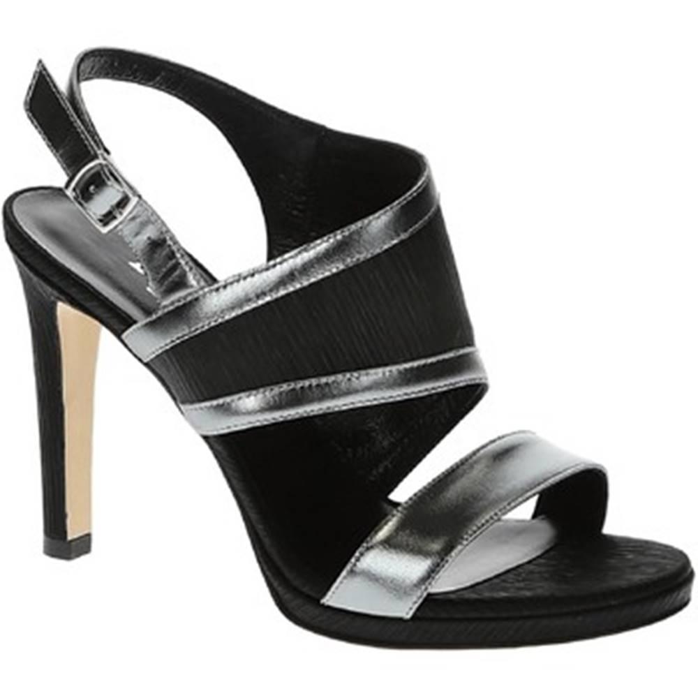 Leonardo Shoes Sandále Leonardo Shoes  17111 PLISSE NERO SPECCHIO ACCIAIO T 3109P