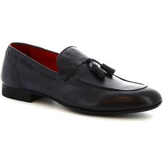 Mokasíny Leonardo Shoes  8717E19 CRUST BOTTOLATO AV BLU