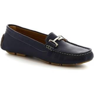 Mokasíny Leonardo Shoes  227 VITELLO BLEU