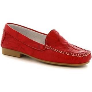 Balerínky/Babies Leonardo Shoes  318 STROPICCIATO ROSSO FONDO GOMMA