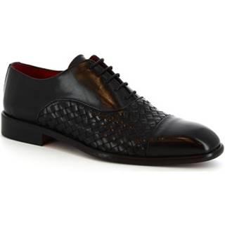 Derbie Leonardo Shoes  188  V.NERO INTRECCIATO