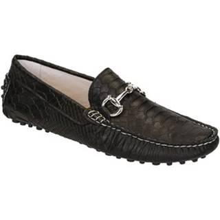 Mokasíny Leonardo Shoes  504 ANACONDA NERO