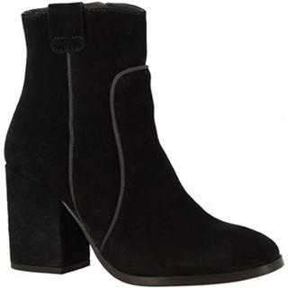 Čižmičky Leonardo Shoes  5801/1 TRONCHETTO VELV. NERO GRO LAVAGNA