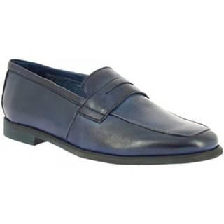 Mokasíny Leonardo Shoes  187/3 PAPUA BLU