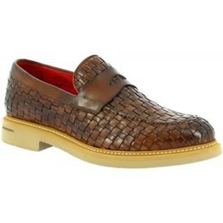 Mokasíny Leonardo Shoes  9462E20 VITELLO AV BRANDY