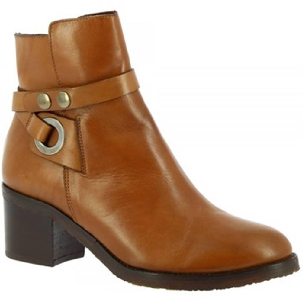 Leonardo Shoes Čižmičky Leonardo Shoes  R056 TOFFY TAN