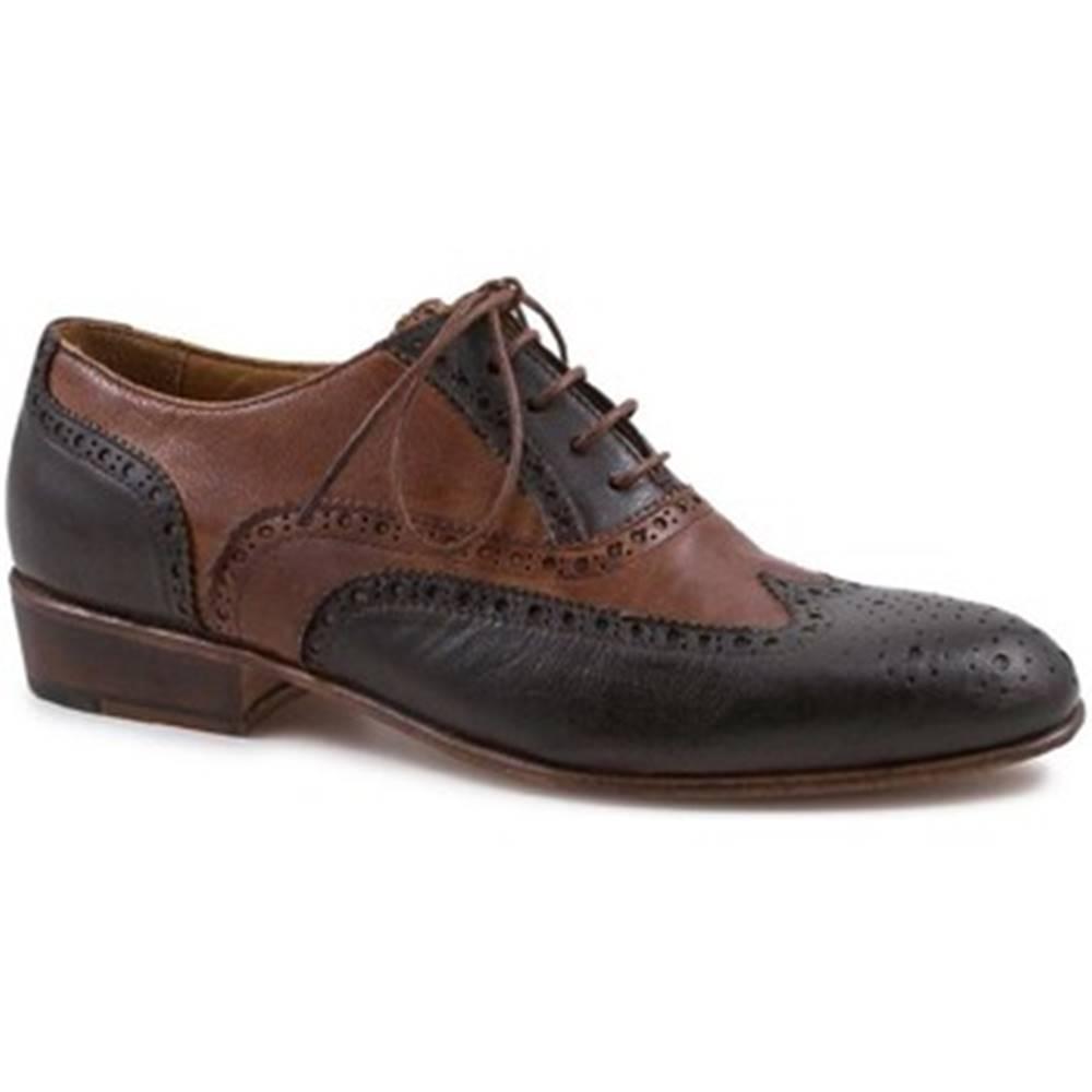 Leonardo Shoes Derbie Leonardo Shoes  PINA 037 MORO/CUOIO