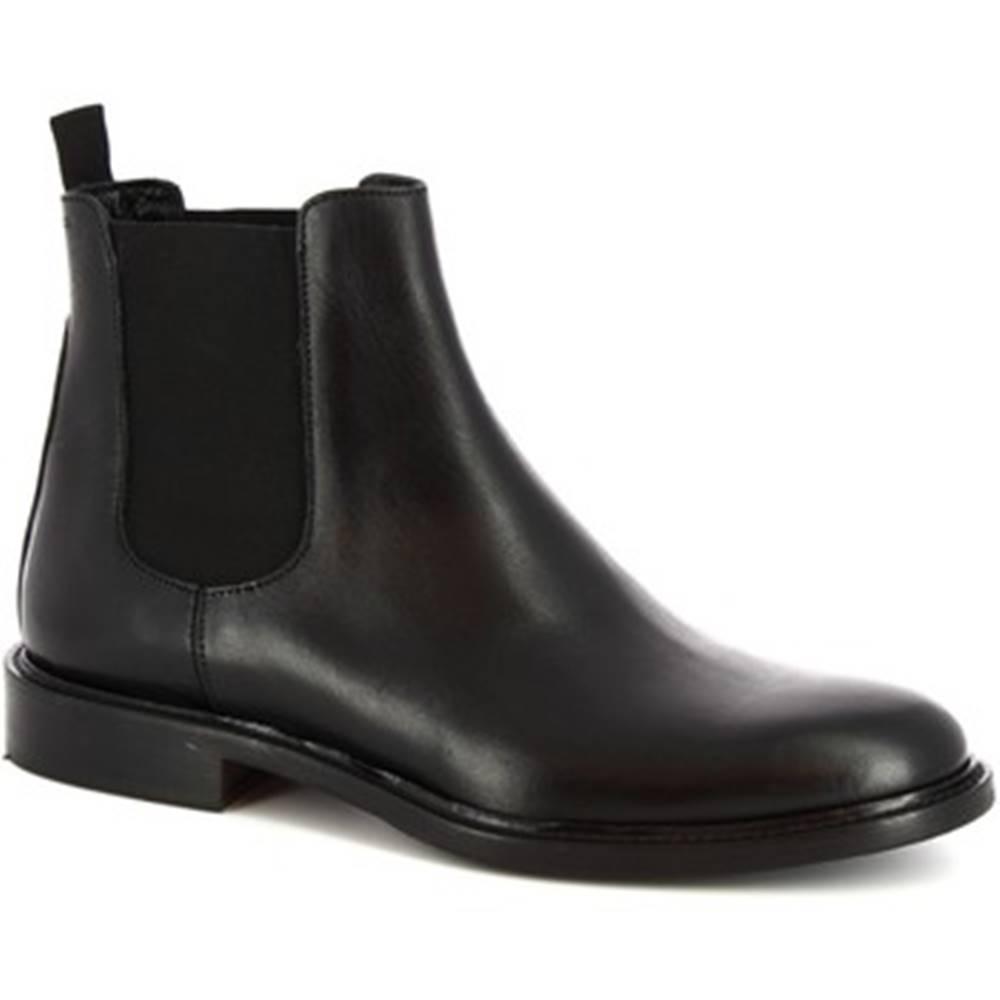 Leonardo Shoes Polokozačky Leonardo Shoes  1039_4 PE VITELLO NERO