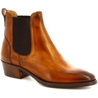 Nízke čižmy Leonardo Shoes  9227/19 VITELLO DELAVE SIENA