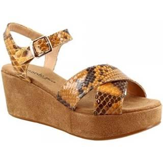 Sandále Leonardo Shoes  3408 TONI CAMOSCIO PITONE OCRA