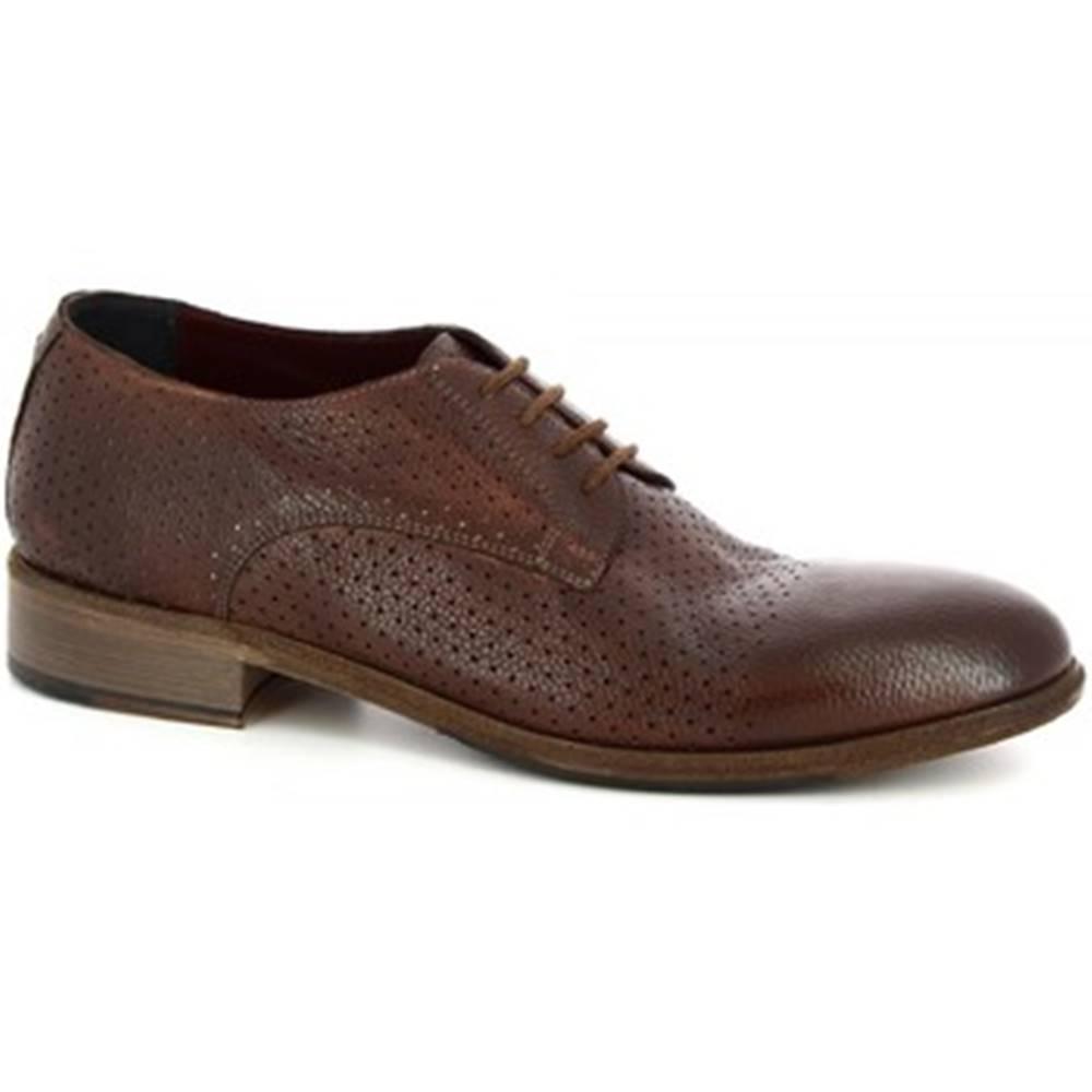 Leonardo Shoes Derbie Leonardo Shoes  34302/2 BUFALO CHESTNUT - FORATO ART 32