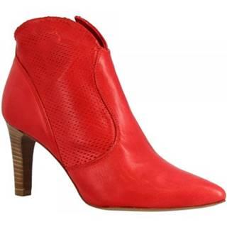 Nízke čižmy Leonardo Shoes  N129 ROGUE ROSSO