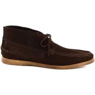 Polokozačky Leonardo Shoes  M402-01 VELOUR T. MORO181