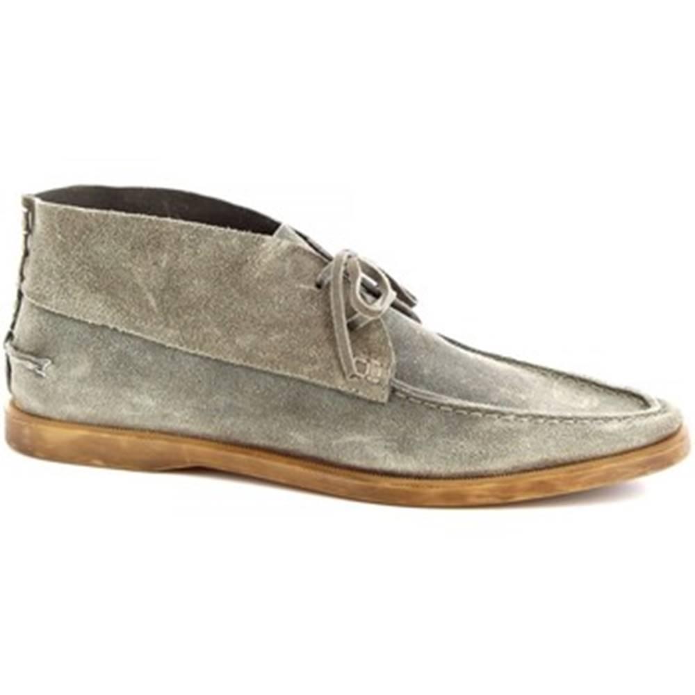 Leonardo Shoes Polokozačky Leonardo Shoes  M402-01 VELOUR PIOMBO575
