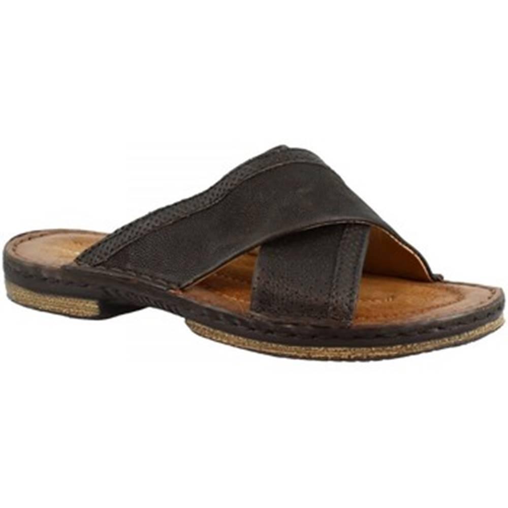 Leonardo Shoes Šľapky Leonardo Shoes  434013 NERO/LEGNO
