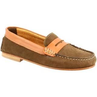 Mokasíny Leonardo Shoes  503 NABUK KAKI CUOIO