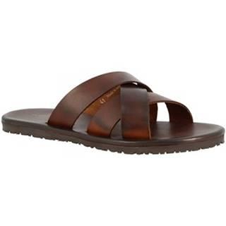 Šľapky Leonardo Shoes  M6377 MARRONE