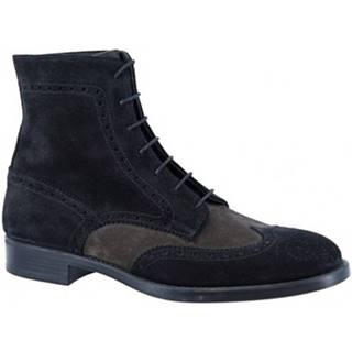 Polokozačky Leonardo Shoes  248-60 VELUR/BLU/PIOMBO/
