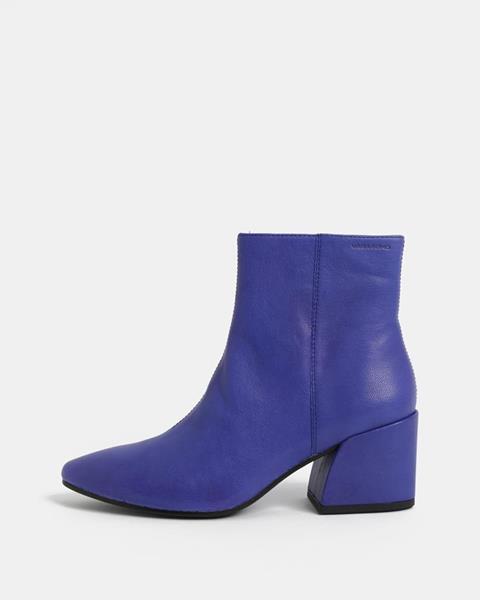 ZĽAVA až 30% na Modré dámske kožené členkové topánky na podpätku ... 24ef79c4d8f