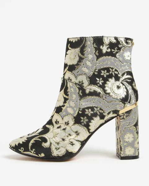 ZĽAVA až 80% na Zlato-čierne vzorované členkové topánky Ted Baker Ishbel d4f3c3fa85e