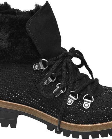 Graceland - Čierna členková obuv na zips Graceland