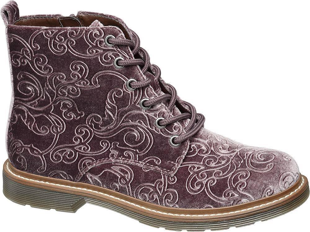 Graceland Sivobéžová zamatová šnurovacia obuv so zipsom Graceland