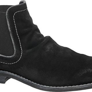 AM SHOE - Čierna kožená členková obuv Chelsea AM SHOE