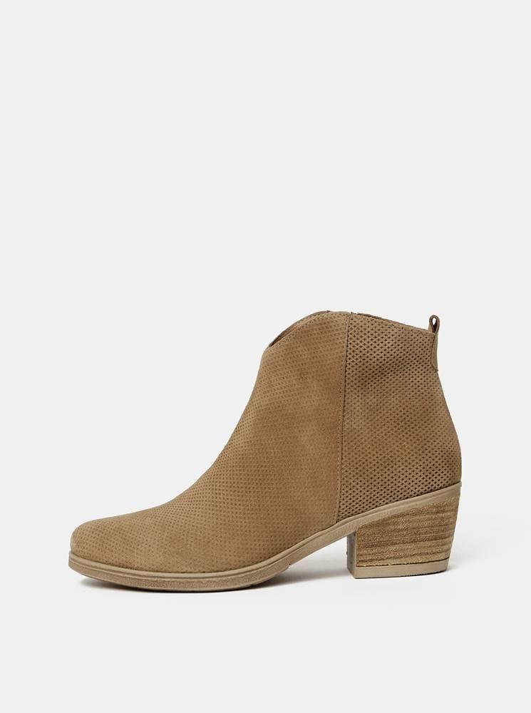 OJJU Hnedé dámske vzorované semišové členkové topánky OJJU